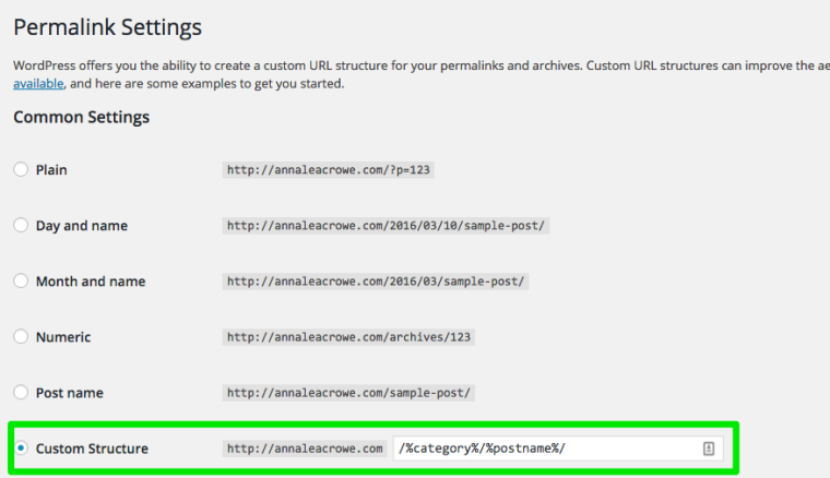 WordPress Permalink Settings Screenshot Anna Crowe