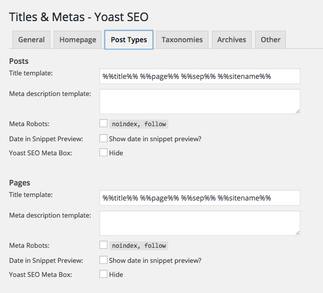 Yoast SEO Plugin Post Types