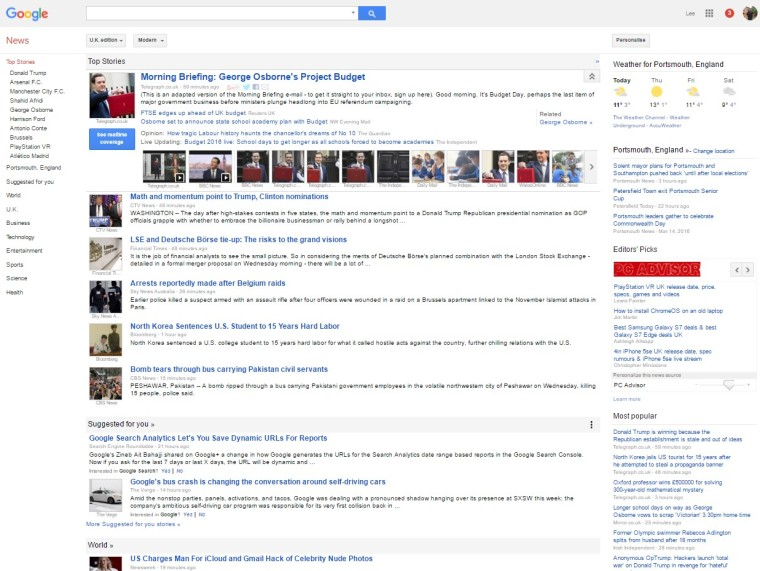 Google News home page example