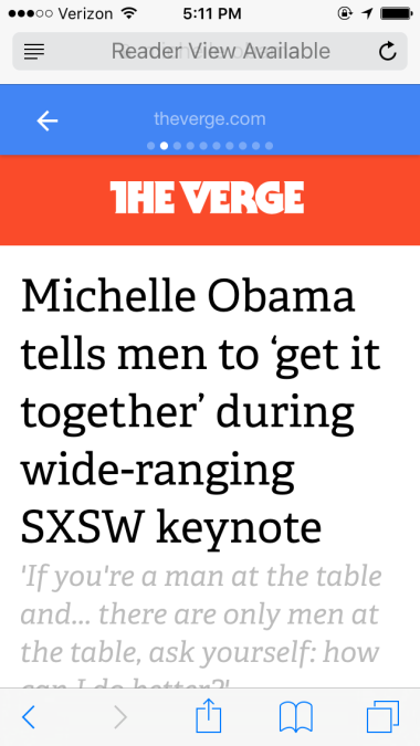 The Verge Michelle Obama Google AMP Article | SEJ