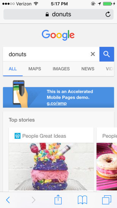 Google AMP Local Search Results