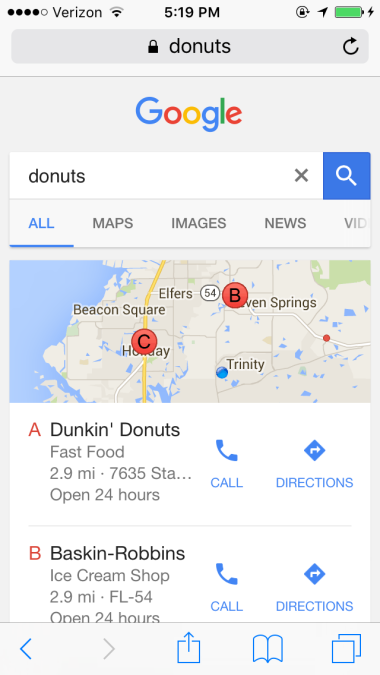 Google Local Mobile Search Results