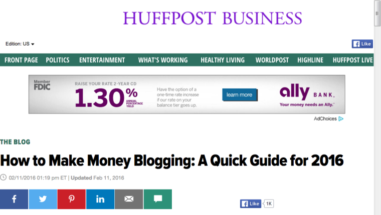 Make Money Blogging in 2016