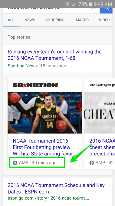 March Madness Google AMP