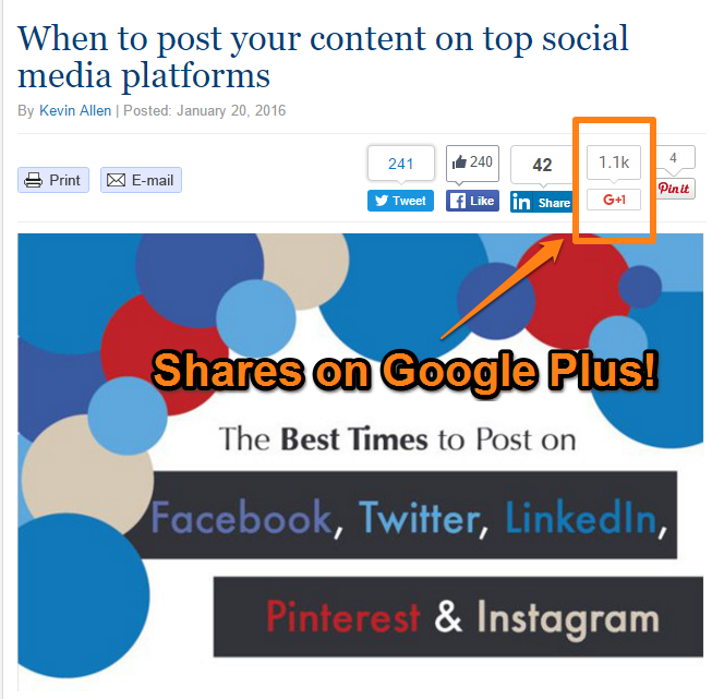 PR Daily Article - Shares on Google Plus