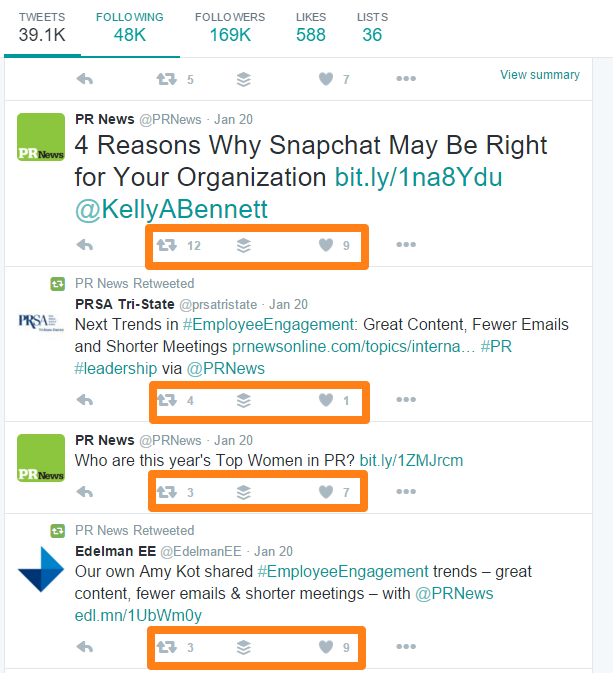 PR News Twitter Page Conversation Engagement Example