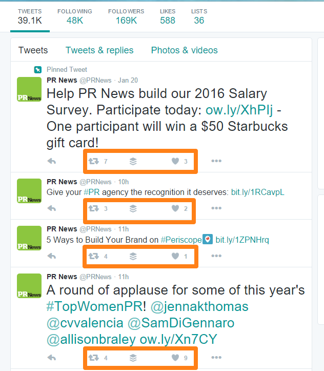 PR News Twitter Page Conversation Engagement