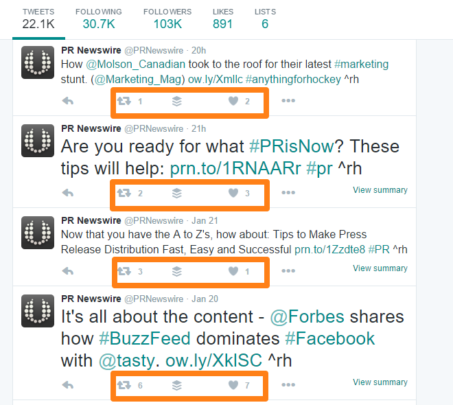 PR Newswire Twitter Page Conversation Engagement Exampe