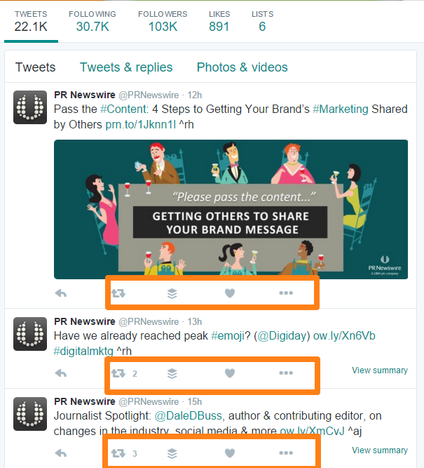 PR Newswire Twitter Page Conversation Engagement