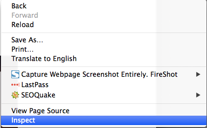 Right Click Inspect in Google Chrome
