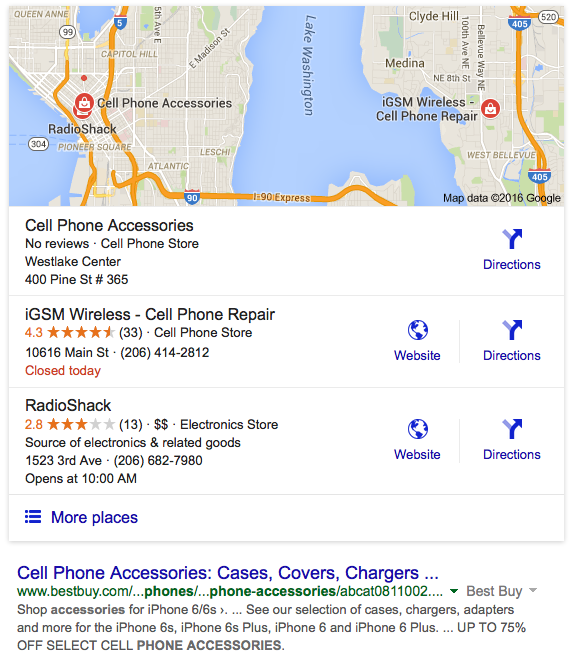 Google Search Screenshot for Cell Phone Accessories