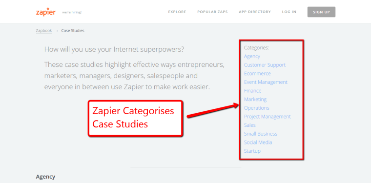 Zapier creates Case Studies and categorises them