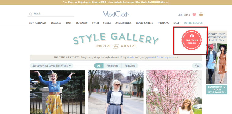 Modcloth invites User Generated Content