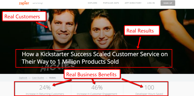 Zapier Case studies include photos of clients and results in their case studies