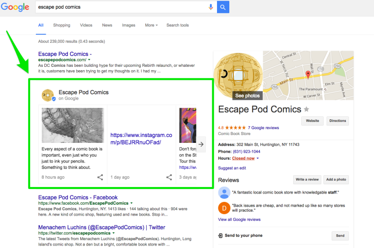 Google Local Results Escape Pod Comics