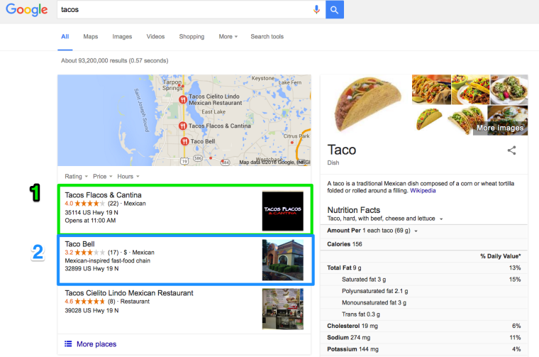 Google Local Results Tacos Search Query