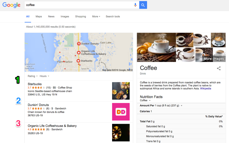 Google Local Search Results Coffee Search Query