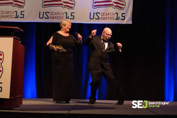 Winner Marty Weintraub of aimClear at US Search Awards 2015
