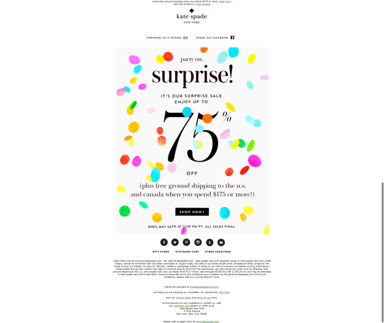 Kate Spade Email Newsletter