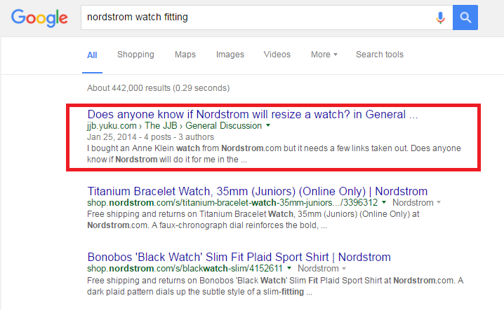 nordstrom watch fitting google search results