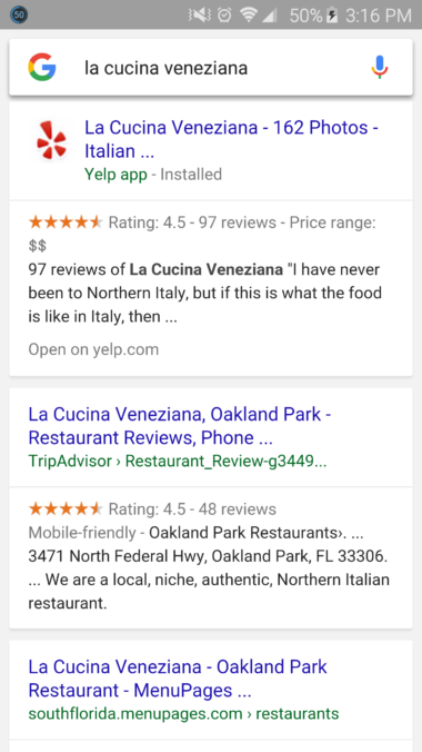 Google mobile search results displaying Yelp app content