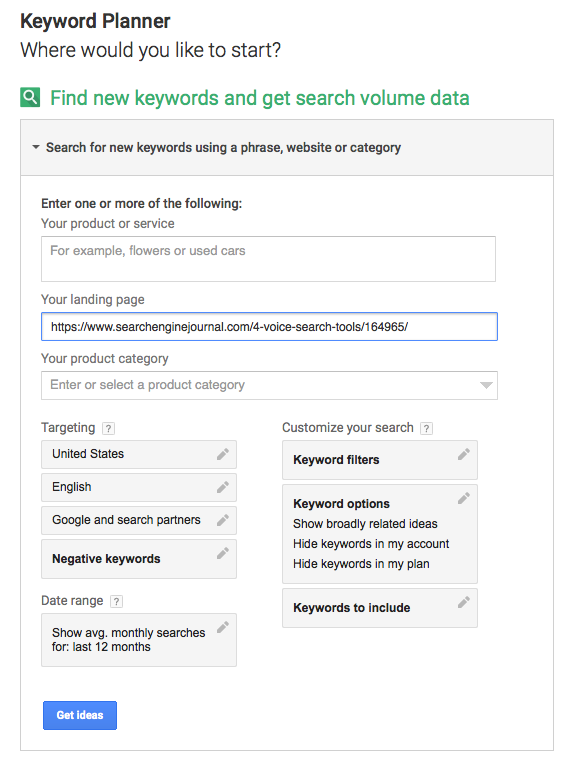 Google Keyword Planner Competitive Research Tool