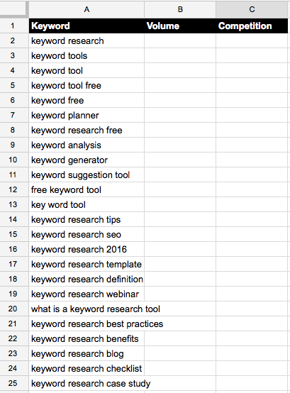 keyword research google sheets