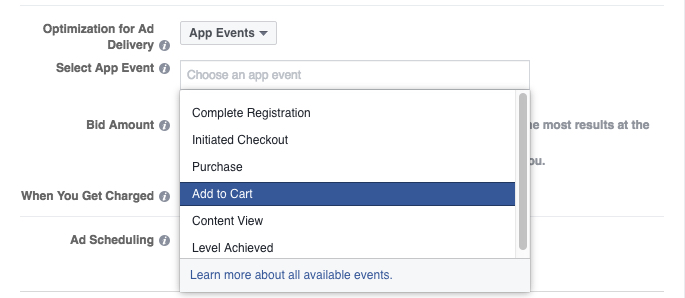 Facebook app events