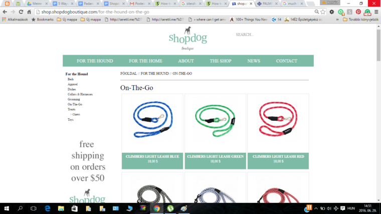 The On The Go category is where you'd need to go to find leashes. Not quite intuitive given the rest of the information architecture is based around product types rather than use scenarios.