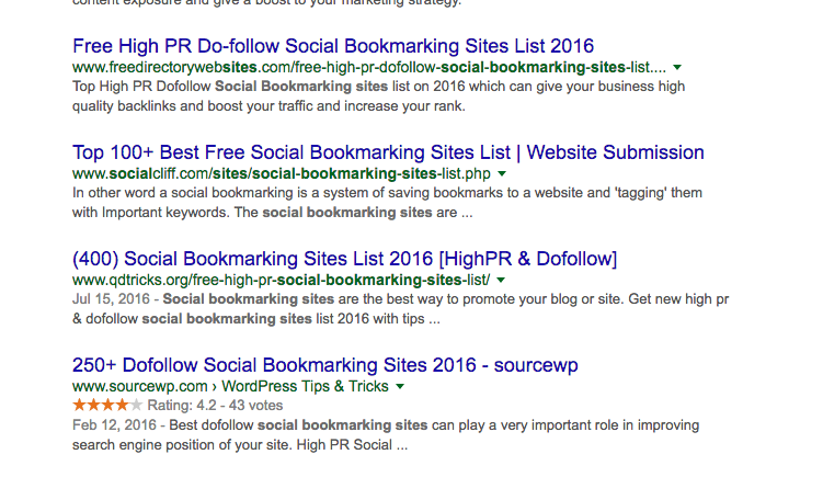 social bookmarking search results