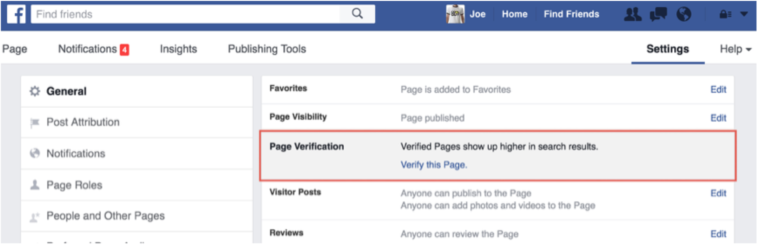 Facebook Verification- Step 1 - Page Verification