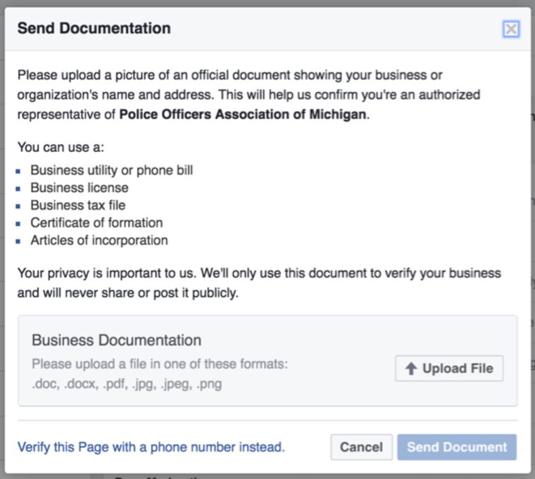 Facebook Verification- Documentation Process