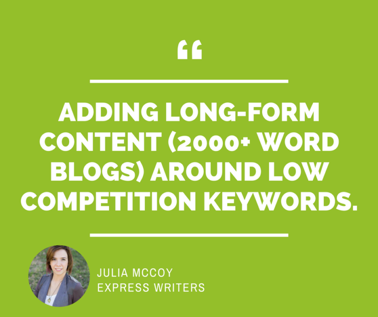 Julia McCoy Express Writers SEO Quote