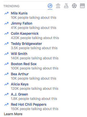 Facebook Trending Today