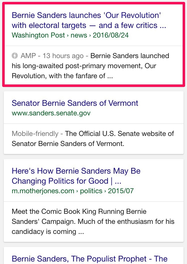organic amp results in google
