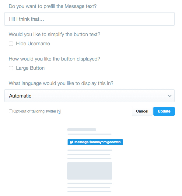 Twitter message button customize