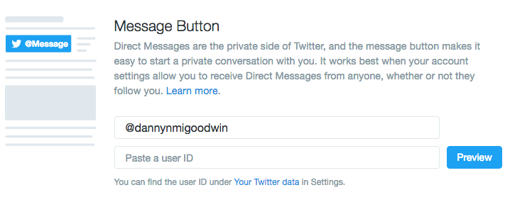 Twitter message button info