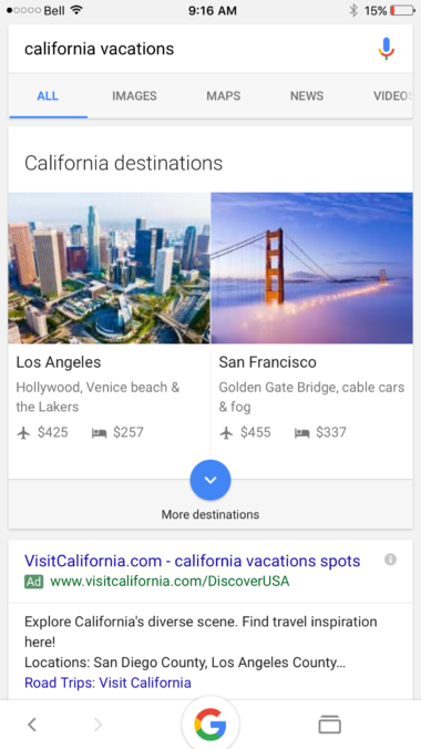 Google Displaying Vacation Prices On Front Page Of Search