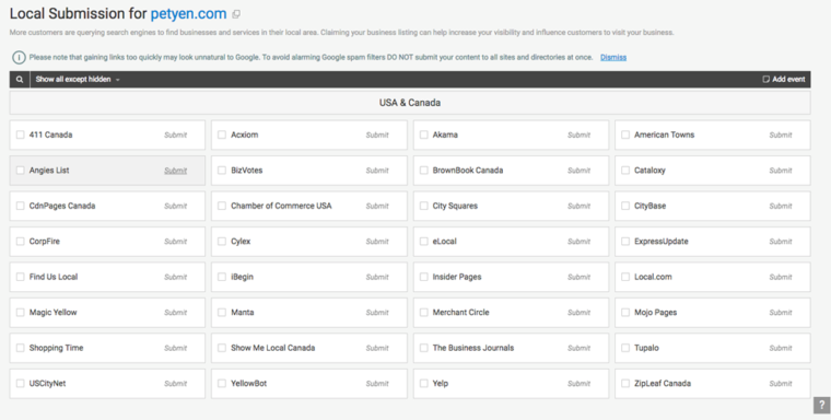 local submissions on WebCEO