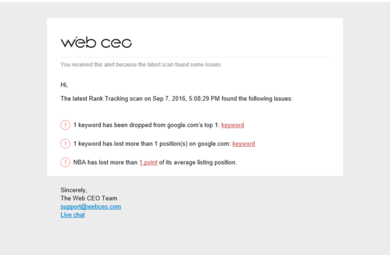 WebCEO ranking tracking email