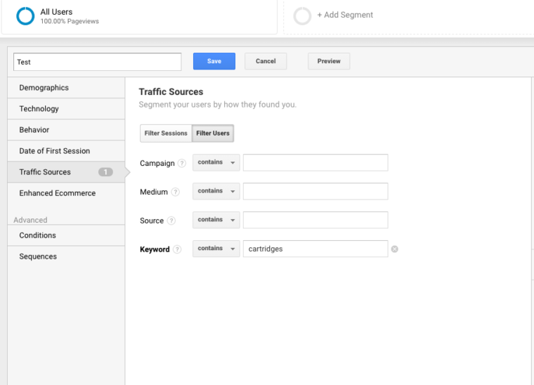 keyword search term Google Analytics
