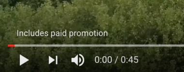 YouTube includes paid promotion