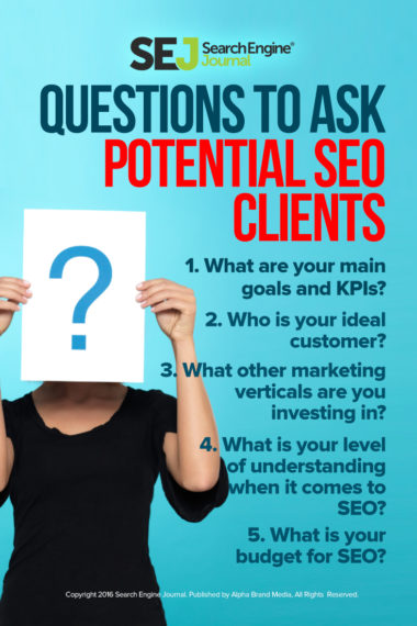 Pinterest Image: Question to Ask Potential SEO Clients