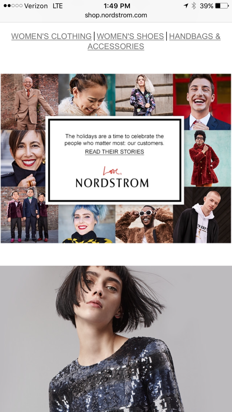 Nordstrom mobile homepage