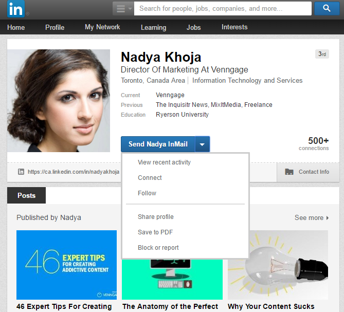 Profile screenshot from Linkedin page
