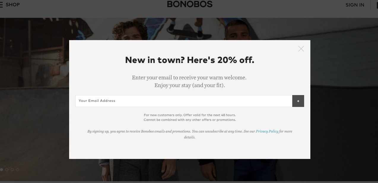 Bonobos discount new visitor