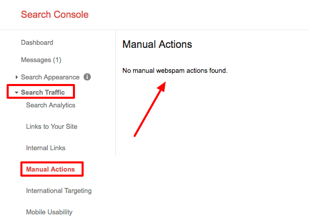 Search console manual actions check