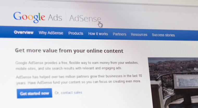 Tours, France - June17, 2014: Close up of Google's Advertising Program on a computer screen. Google AdSense is a program run by Google that allows publishers in the Google Network of content sites to serve advertisements targeted to site content and audience