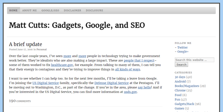 Matt Cutts Screenshot of Blog