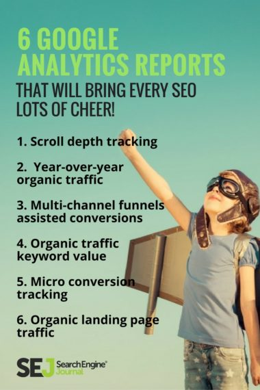 Pinterest Graphic: 6 Google Analytics Reports That Will Bring Every SEO Lots of Cheer